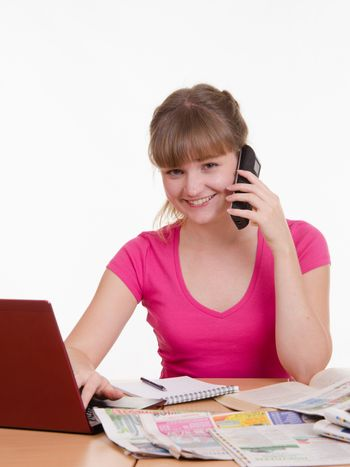 Girl talking on the phone with employer