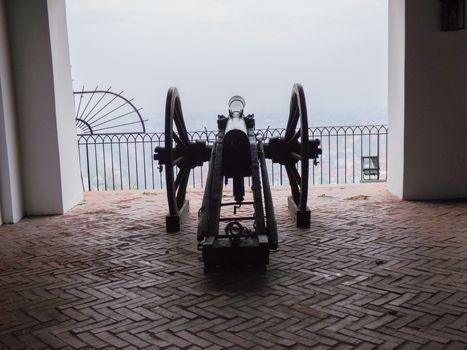 Old cannon on gun carriage aims to Graz, Austria