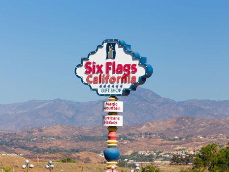 VALENCIA, CA/USA - AUGUST 17, 2014. Six Flags Magic Mountain Entrance Sign. Six Flags Magic Mountain is a theme park located north of Los Angeles, California.