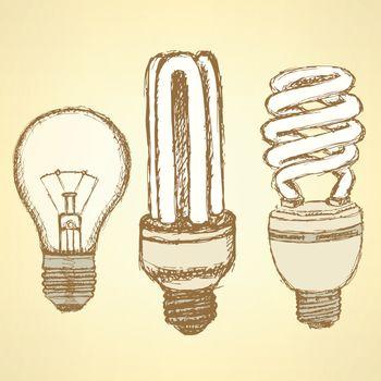 Sketch economic light bulb in vintage style, vector