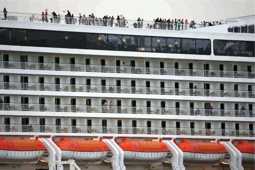 modern cruise ship balconies vector detail
