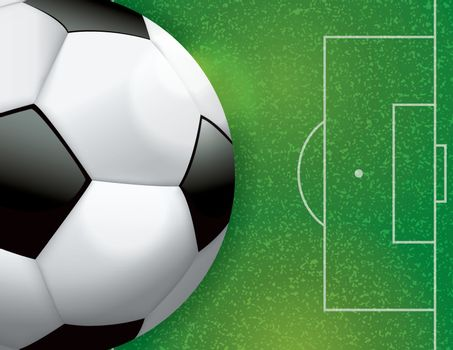 A soccer ball on a tuxtured field background. Vector EPS 10 available. EPS file contains transparencies and gradient mesh.