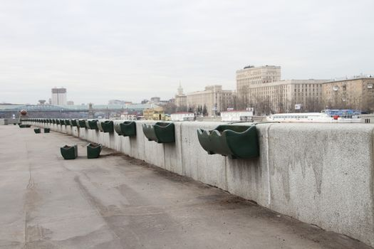 Flower pots on the embankment in Gorky Park, Moscow