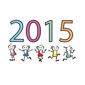 2015 new year colorful children celebration