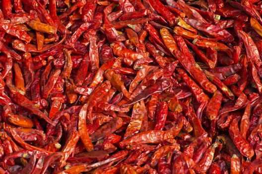 dry spice chili peppers background in asia market