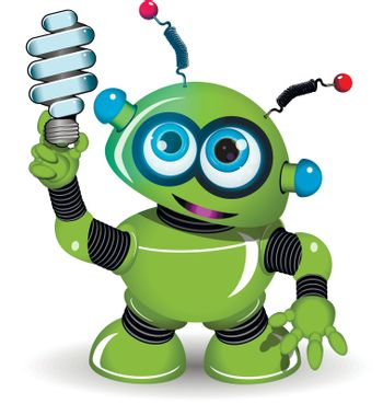 Illustration of a green robot with antennae and lamp
