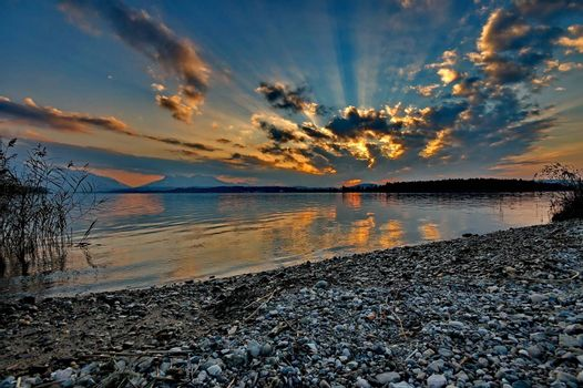 Sunset at lake Chiemsee in Germany