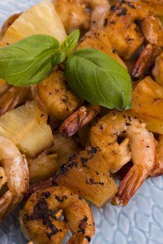 Skewer shrimp with pineapple