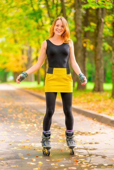 hobby fun slim girls - roller skating in the park