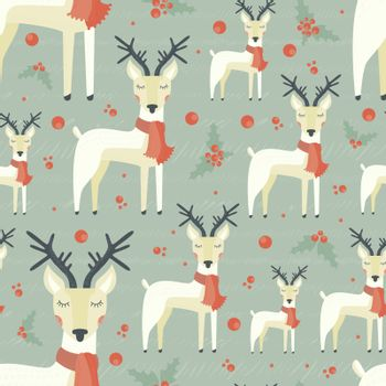 Xmas seamless pattern with cute deer. New Year celebration texture. Christmas background for cards, invitations and websites.