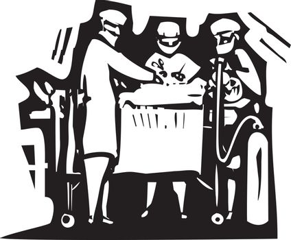 Woodcut style expressionist image of doctors performing surgery on a patient