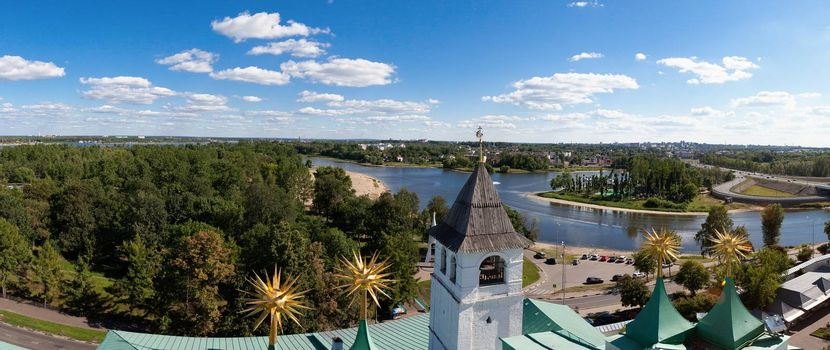 panorama of the city of Yaroslavl, Russia, in a sunny day