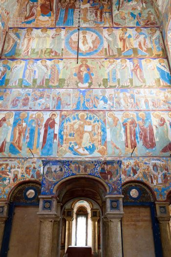 ancient fresco on a wall of church, Russia