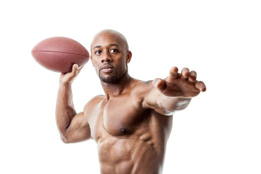 Toned and ripped lean muscle fitness man lifting weights isolated over a white background.