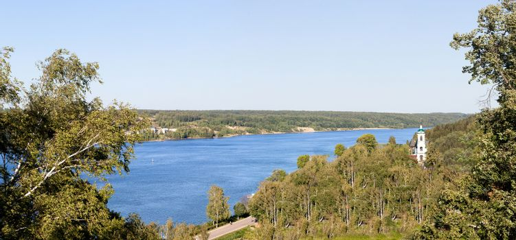 Volga River panorama about the city the Reach, Russia