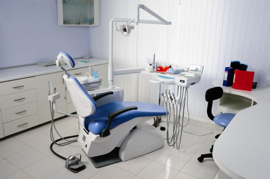 Well equipped modern dentist office interior, nobody