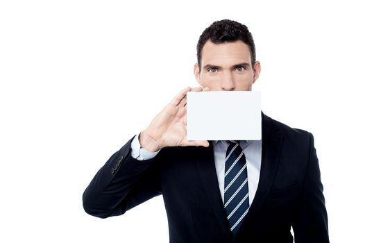 Entrepreneur positively holds blank card