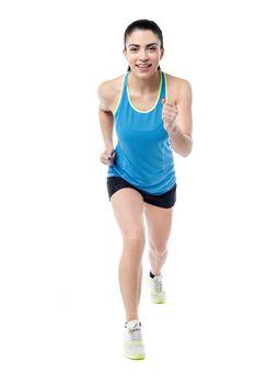 Full length photo of running woman