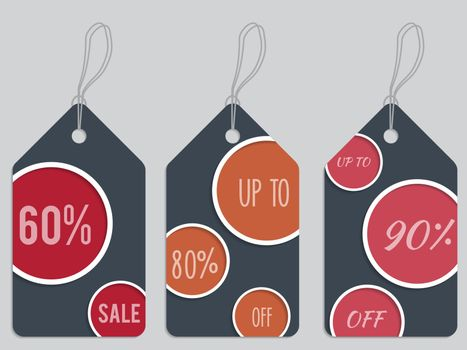 Dark dotted discount labels