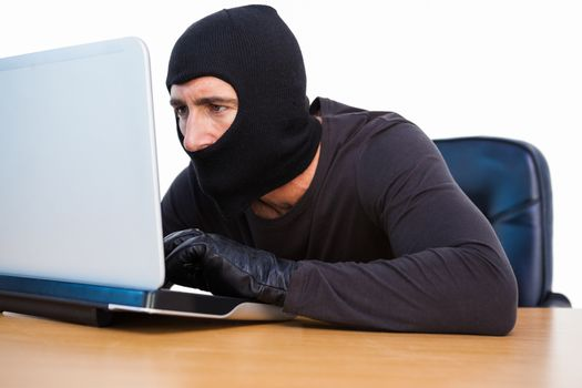 Burglar with balaclava hacking a laptop