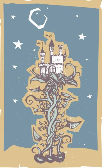 woodcut style image of a the fairy tale magic beanstalk and beans with the giants castle.