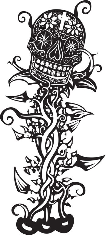 Woodcut style image of a Mexican day of the dead skull tangled in vines