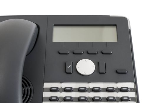 part of modern business phone isolated in white background. close up