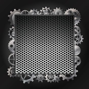steel background and gear wheel