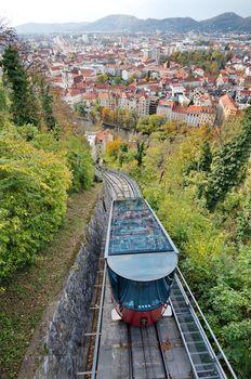 Red funicular in Graz, Austria