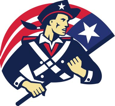 american patriot minuteman flag retro