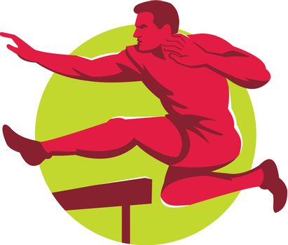 track and field athlete jumping hurdles viewed from side