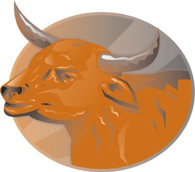 angry bull head retro