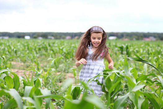Happy little girl running through the corn field
