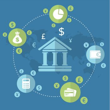 Bank money around on a blue background