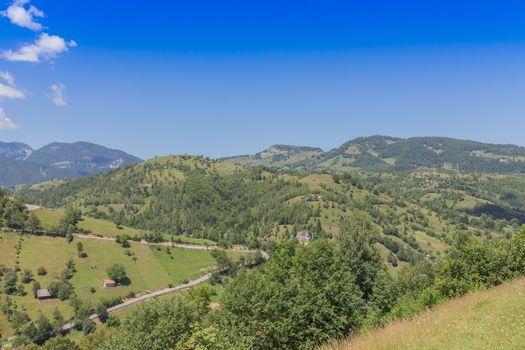 Beautiful day and spring landscape,near Bran,Transylvania ,Romania