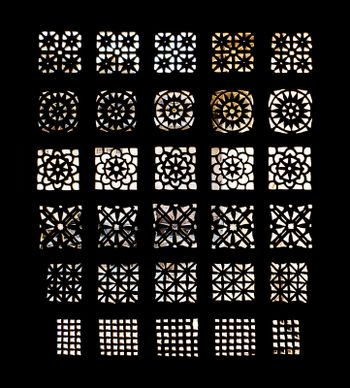 Carved stone grilles pattern