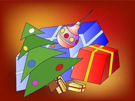 Illustration of the Christmas tree and Christmas presents