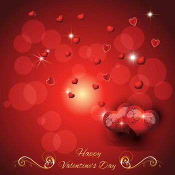 festive greeting card with two hearts valentine's day with  greeting text Vector