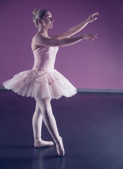 Graceful ballerina standing in pink tutu