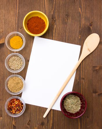 Recipe with spices on wood top view