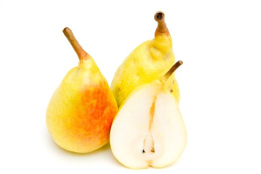 Pears with slice on white background