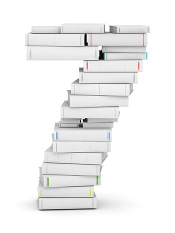 Number 7, stacked from many blank title books in column