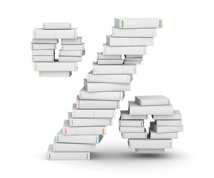 Number , stacked from many blank title books in column