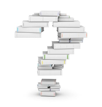Question mark , stacked from many blank title books in column