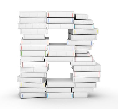Letter B, stacked from many blank title books in column