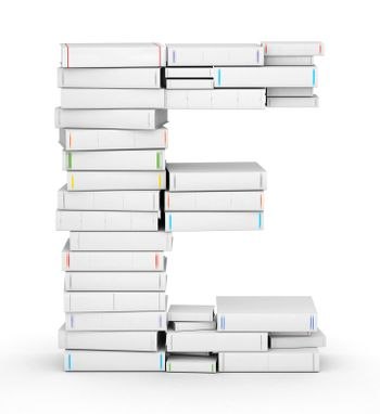 Letter E, stacked from many blank title books in column