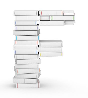 Letter F, stacked from many blank title books in column