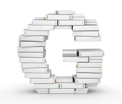 Letter G, stacked from many blank title books in column