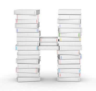 Letter H, stacked from many blank title books in column