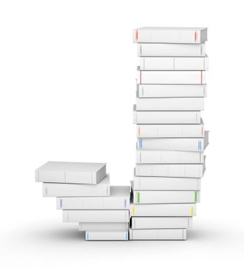 Letter J, stacked from many blank title books in column